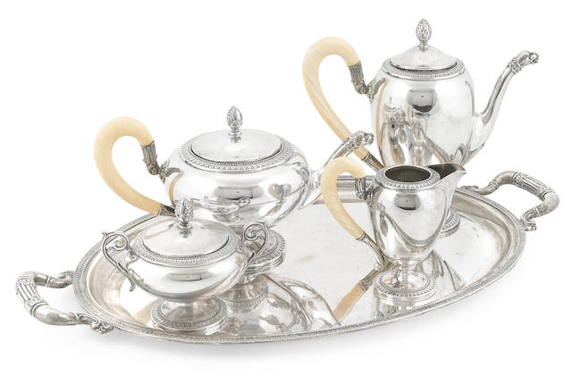 An Italian  800 standard silver and ivory five piece tea and coffee service Ricci & C. S.p.A., Alessandria, mid-20th century