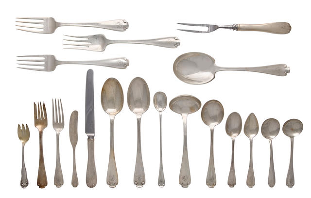 An American sterling silver large flatware service Manufactured and retailed by Tiffany & Co., New York, 1907-47