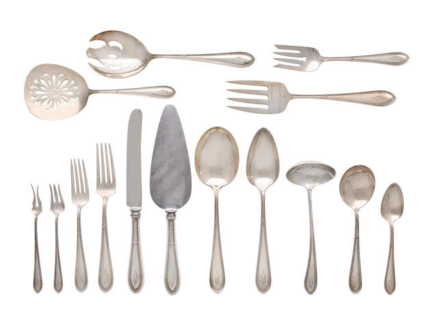 An American sterling silver large flatware service<BR />Gorham Mfg. Co., Providence, Rhode Island<BR />early 20th century