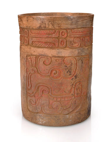 Maya Cylinder Vase with Chac Glyph