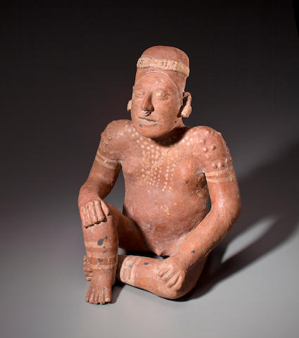Jalisco Seated Male Figure, El Arenal Style, Protoclassic, ca. 100 B.C. - A.D. 250