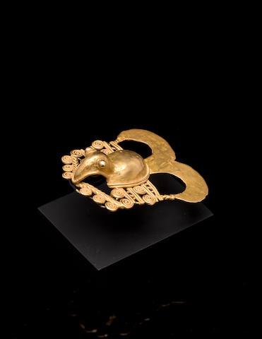 Diquis Gold Avian-Form Pendant, ca. A.D. 1000 - 1400