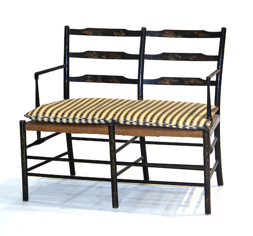 A Regency japanned bench first quarter 19th century