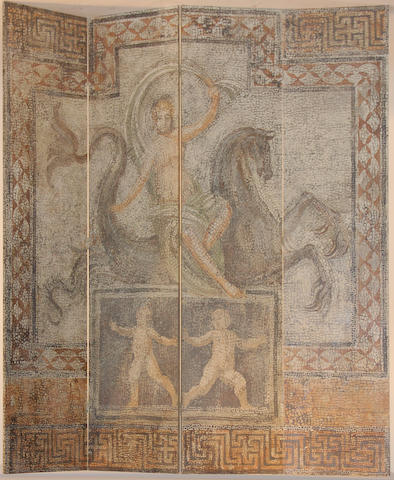 A Roman style four panel floor screen
