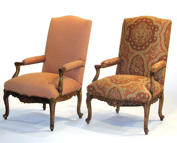 Two Regence style fauteuils