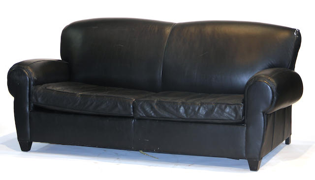 A Contemporary leather upholstered sofabed