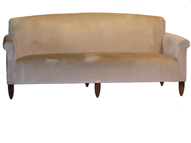 An Art Deco style cream upholstered sofa  20th century