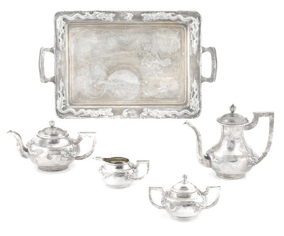 A Chinese Export silver  five piece tea and coffee service Tuck Chong,  circa 1900