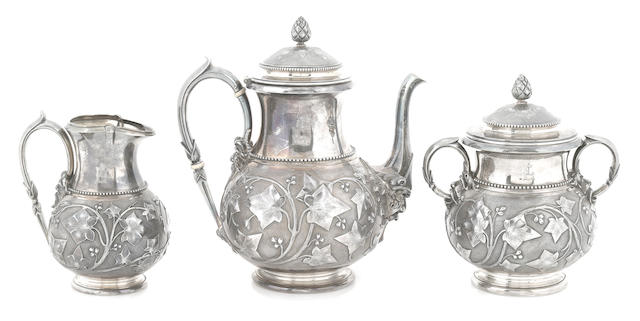 An American  sterling silver  foliate-chased three-piece coffee service Tiffany & Co., New York, NY,  circa 1858