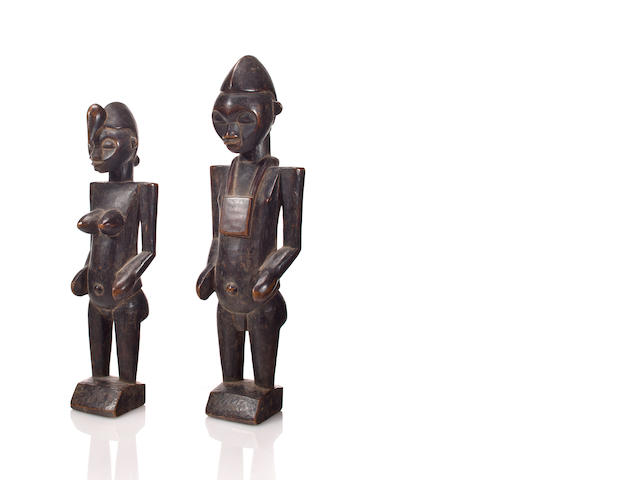 Pair of Senufo Figures, Boundiai District, Ivory Coast