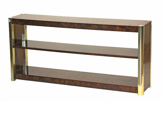 A contemporary burlwood and metal low console table