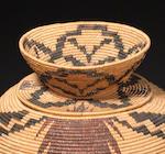 A Paiute/Miwok polychrome lidded basket