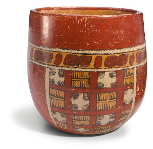 Maya Polychrome Cylinder Vessel, Late Classic, ca. A.D. 550 - 950