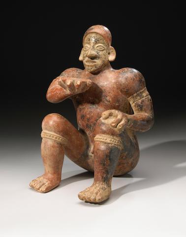 Large Jalisco Seated Wrestler, Ameca-Etzatlán Style, Protoclassic, ca. 100 B.C. - A.D. 250