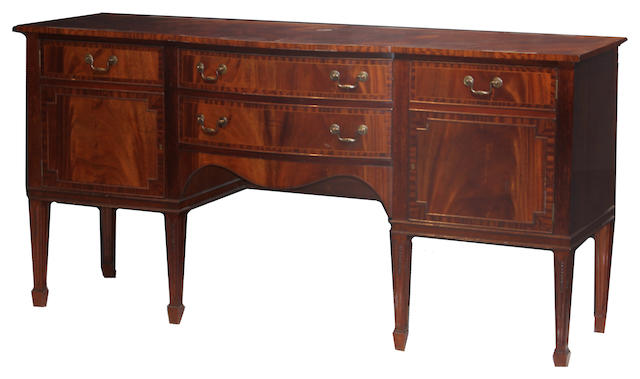 A George III style inlaid mahogany sideboard late 20th century
