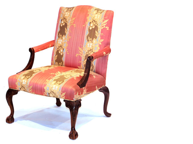 A pair of George III style mahogany open armchairs late 20th century