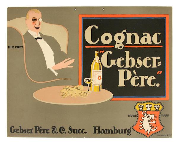 """Hans Rudi Erdt (German, 1883-1918); Cognac """"Gebser-Pere"""";"""