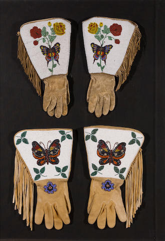 Two pairs of Plateau beaded gauntlets