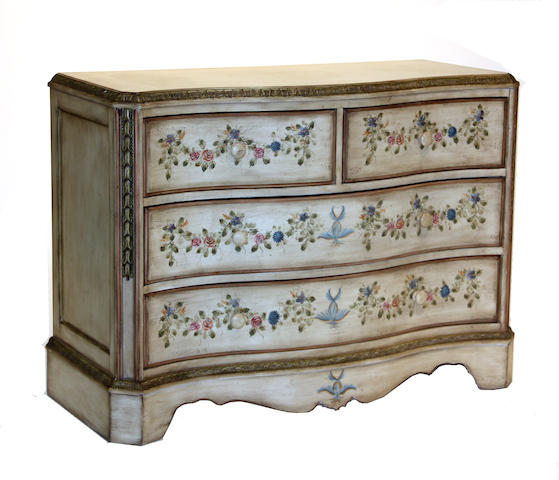An Italian Neoclassical style paint decorated chest of drawers 20th century