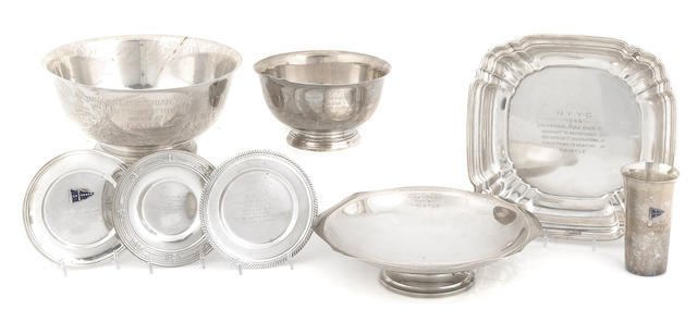 A collection of sterling silver yachting trophies - New York Yacht Club and other clubs