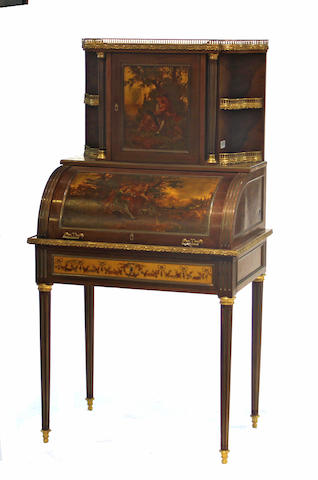 A Louis XVI style bureau a cylinder decorated in the Vernis Martin style.