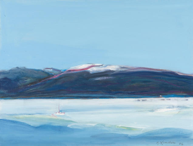 Gregory Kondos (born 1923) Lake Side, Tahoe, 2006 12 x 16in (30.5 x 40.6cm)