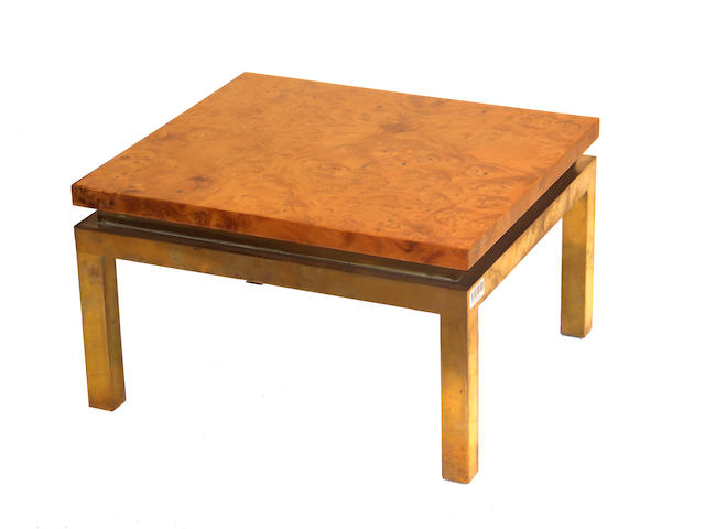 A contemporary burlwood and polished metal side table
