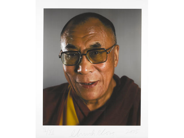 Chuck Close (born 1940) The Dalai Lama, 2005 image: 39 3/4 x 33 1/4in. (100.9 x 84.4cm) sheet: 48 1/2 x 41in. (123.1 x 104.1cm) This work is number II from an edition of thirty, plus fifteen numbered in Roman numerals.