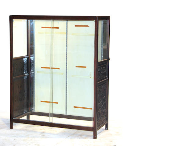 An assembled Chinese mixed wood display cabinet 20th century