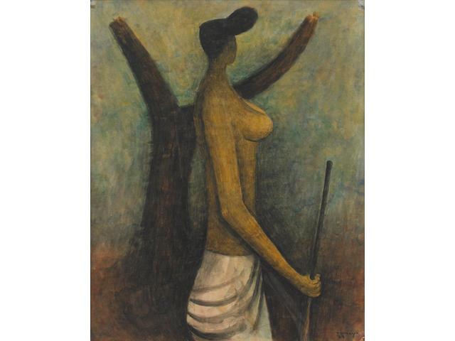 Rufino Tamayo (1899-1991) Mujer de Tehuantepec, 1939 16 3/4 x 13 13/16in. (42.6 x 35.1cm)