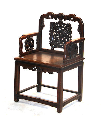 A Chinese mixed hardwood armchair Late Qing/Republic period