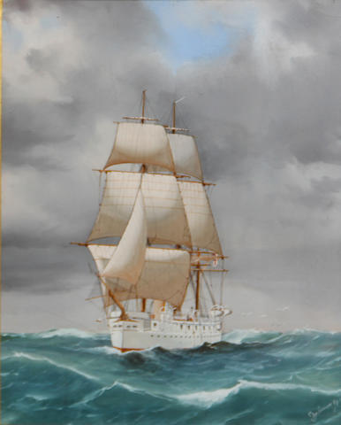 De Limoux (early 20th Century) Under sail on a choppy sea; and a ship painting by another hand (2) first, sight 16 x 12in; second 12 x 24in
