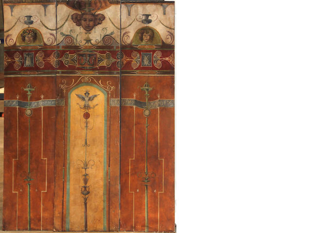 A group of three Pompeiian style painted panels