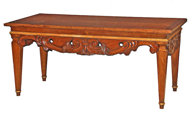 An Italian Baroque style inlaid walnut desk