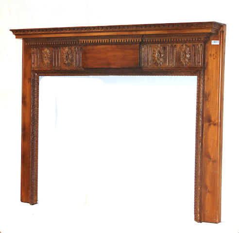 A Federal pine fireplace surround
