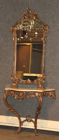 A Louis XV style giltwood marble top console table and mirror