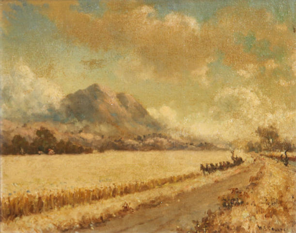 William Alexander Coulter (1849-1936) Mowing the wheat 10 x 14in