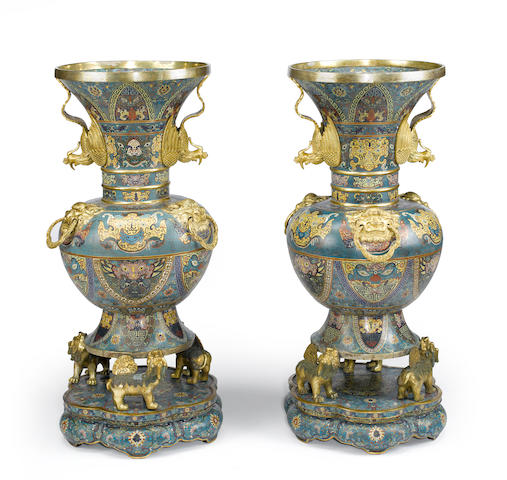A pair of massive cloisonne zun form floor vases Qianlong mark, 19th century