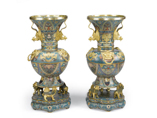 A pair of massive cloisonné enameled metal archaistic floor vases and stands