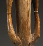 Pair of Male and Female Senufo Rhythm Pounders, Ivory Coast
