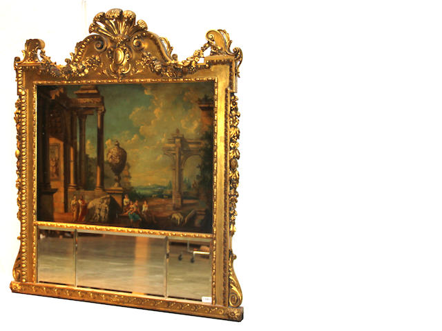 A George II style giltwood overmantel mirror with a painted canvas depicting a Capriccio scene late 19th/early 20th century