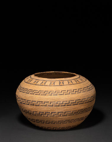 A rare and early Southern California polychrome basket