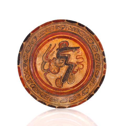 Maya Polychrome Plate, Late Classic, ca. A.D. 550 - 950