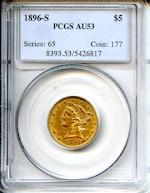 1896-S $5 AU53 PCGS