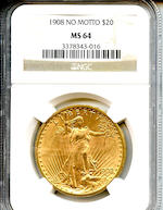 1908 $20 MS64 No Motto NGC