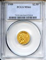 1908 $2.5 MS66 PCGS