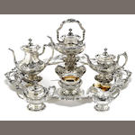 A sterling six piece tea and coffee set with matching tray Reed & Barton, Taunton, MA <BR />Francis I, #s 570A (set) 752A (tray)  (7)