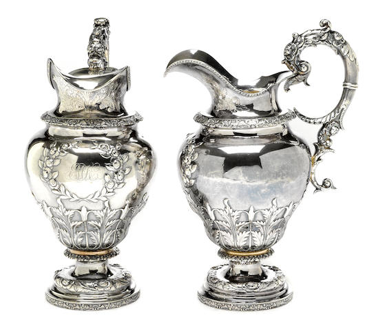 A silver pair of ewers (Probably) Wm. Forbes, New York, NY, circa 1835, retailed by Frederick Marquand <BR />Monogrammed: EMK  (2)
