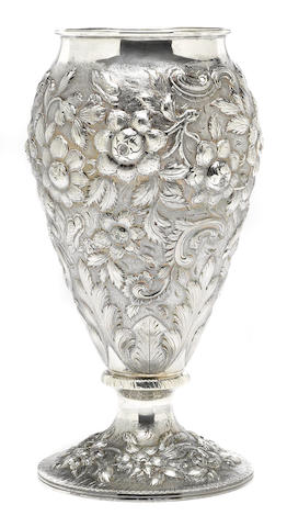 An American sterling silver  floral chased vase Schofield Co., Baltimore, MD,  second quarter 20th century