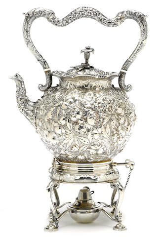 A Baltimore 11 oz silver floral chased kettle S. Kirk & Son, Baltimore, MD  Circa 1880-1890